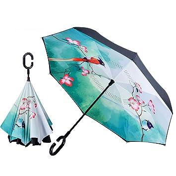 YKYM Paraguas Invertido Upside Down Manija En Forma De C Protección UV por Plegado Inverso para