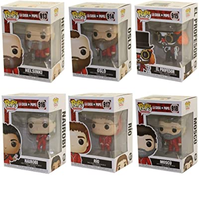 Funko Pop! Bundle of 6: La Casa de Papel - Helsinki, Oslo, El Profesor, Nairobi, Rio and Moscu: Toys & Games