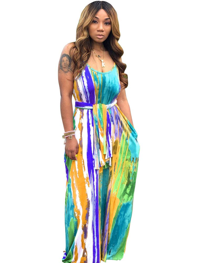 Floral Printed Lanie Multi Wave Maxi Dresses Adjustable Spaghetti Strap Loose Straight Mopping Dress with Pockets Blue