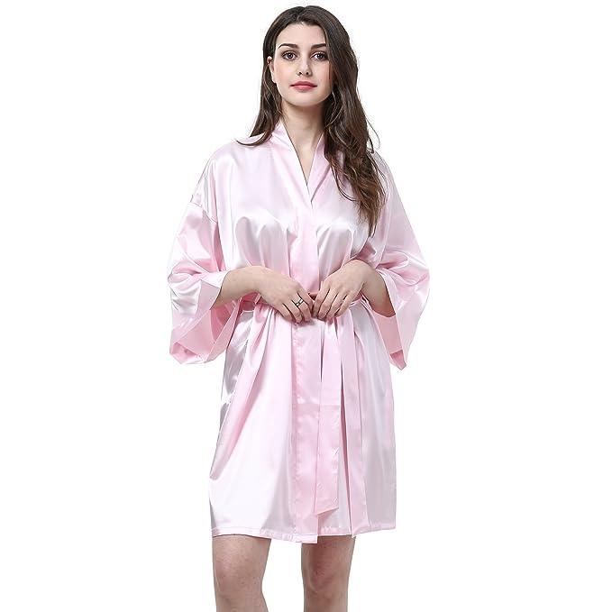 f90b8272bd Women's Kimono Robes Satin Pure Colour Short style V-Neck Nightwear  Bride/Bridesmaid Robe at Amazon Women's Clothing store: