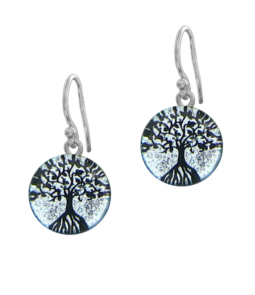 Sterling Silver Dichroic Glass Silver Color Tree Of Life Earrings
