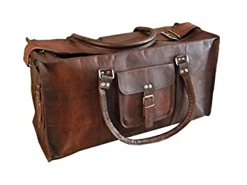 Image Unavailable. Image not available for. Color  20 quot  Men s Genuine  Leather Vintage Duffle Gym Large Travel Weekend Haldall Carry-on Luggage f162029a5fe78
