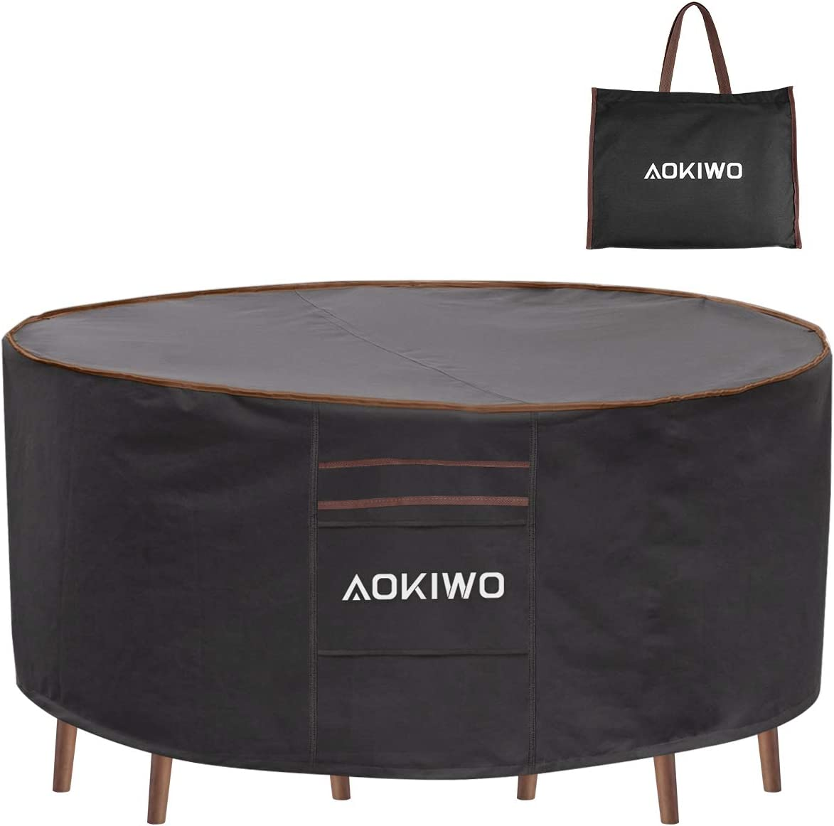 """AOKIWO Outdoor Patio Furniture Covers, 84"""" Round Patio Table and Chair Set Cover Durable Waterproof UV Resistant Anti-Fading Cover 84"""" Dia x 28"""" H"""