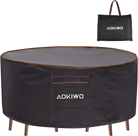 Amazon Com Aokiwo Outdoor Patio Furniture Covers 84 Round Patio Table And Chair Set Cover Durable Waterproof Uv Resistant Anti Fading Cover 84 Dia X 28 H Kitchen Dining