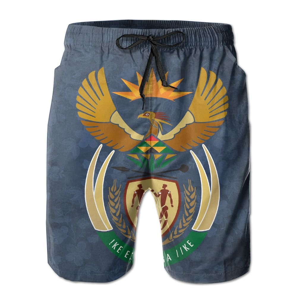 Qinf New Cartoon Fashion South Africa Coat Of Arms Men's Beach Pants Casual Shorts For Man