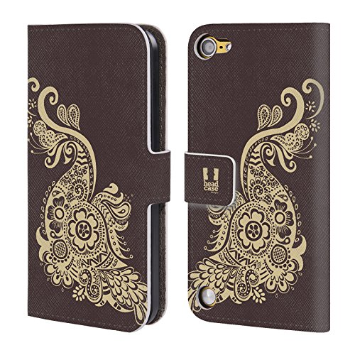 Head Case Designs Pavone Henna Cover a portafoglio in pelle per iPod Touch 5th Gen / 6th Gen