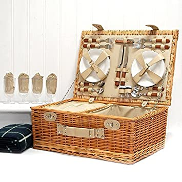 The Deluxe Sutton 4 Person Picnic Basket & Green Picnic Blanket ...