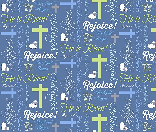 Christian Fabric He Is Risen by Pamelachi Printed - Easter Fabrics