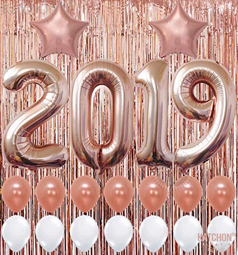 2019 Balloons, Rose Gold for New-Year, Rose Gold Metallic Foil Fringe Backdrop | Rose Gold Balloons | New Years Eve Party Supplies 2019, Graduations Party Supplies 2019,  New Years Party Decorations -