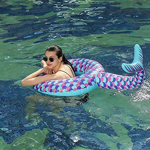 HANMUN Giant Mermaid Tail 42 Inches Pool Float Swim Ring Summer Party Beach for Adults