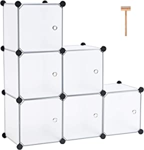 C&AHOME Cube Storage Organizer, Interlocking Bookcase with Doors, Modular 6 Cube Closet Cabinet Toy Rack for Home, Office, Clothes, Shoes, Translucent White