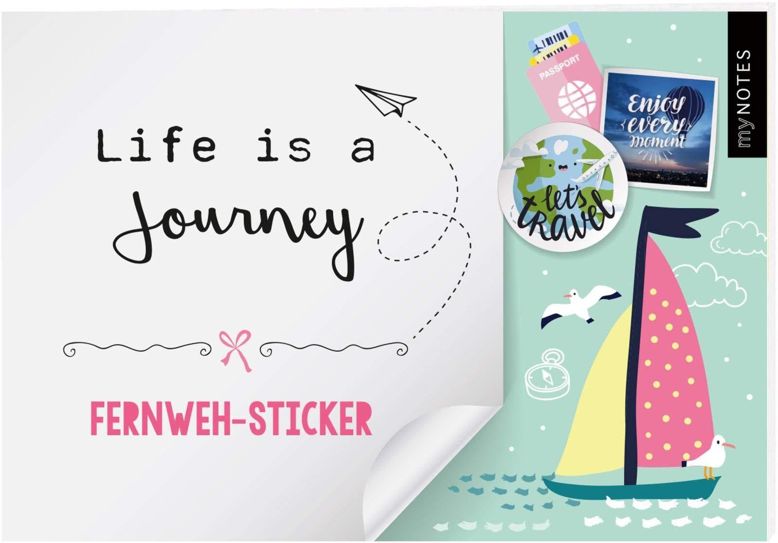 und Fernweh-Stickern Stickerheft mit Reise myNOTES Life is a Journey Bullet Journal oder Reisetagebuch Bunte Sticker f/ür Kalender