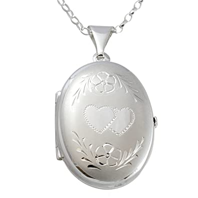 Plain Sterling Silver Oval Locket Pendant With 18