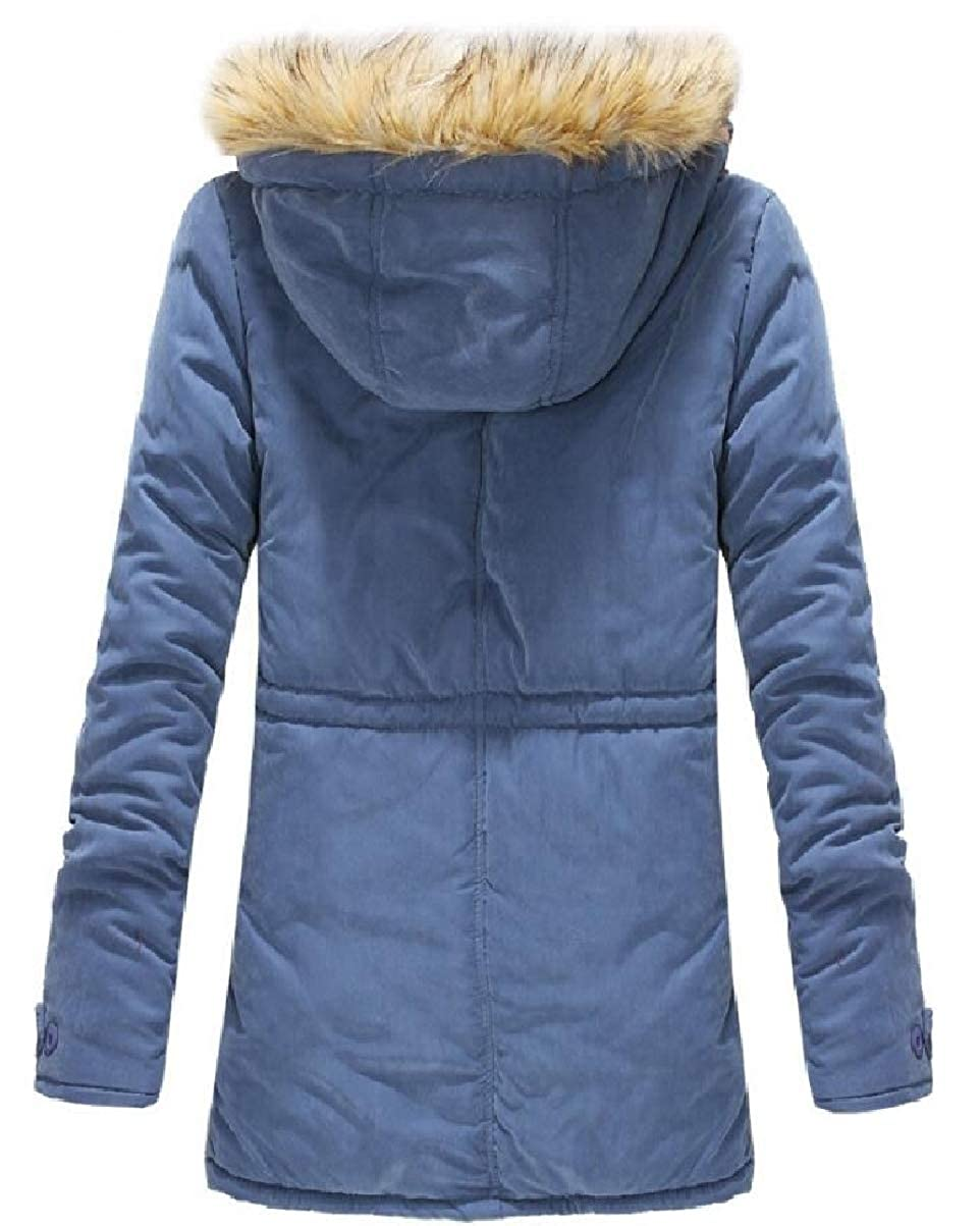 CBTLVSN Mens Winter Hoodies Faux-Fur Collar Mid Long Padded Zip Down Jacket Coat