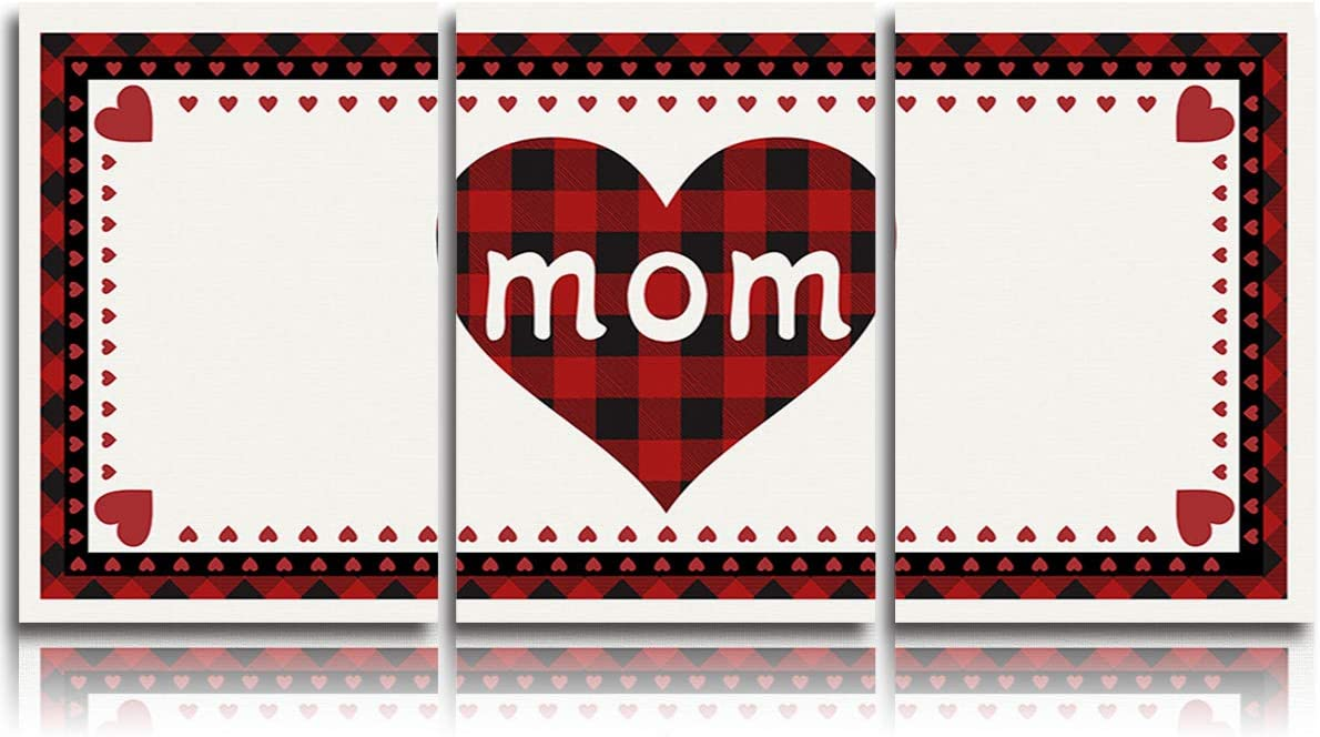 DOME-SPACE 3 Panel Canvas Wall Art Prints Painting Red Plaid Love Heart Shape Mother's Day Print Modern Home Decor Stretched and Framed Ready to Hang - 24