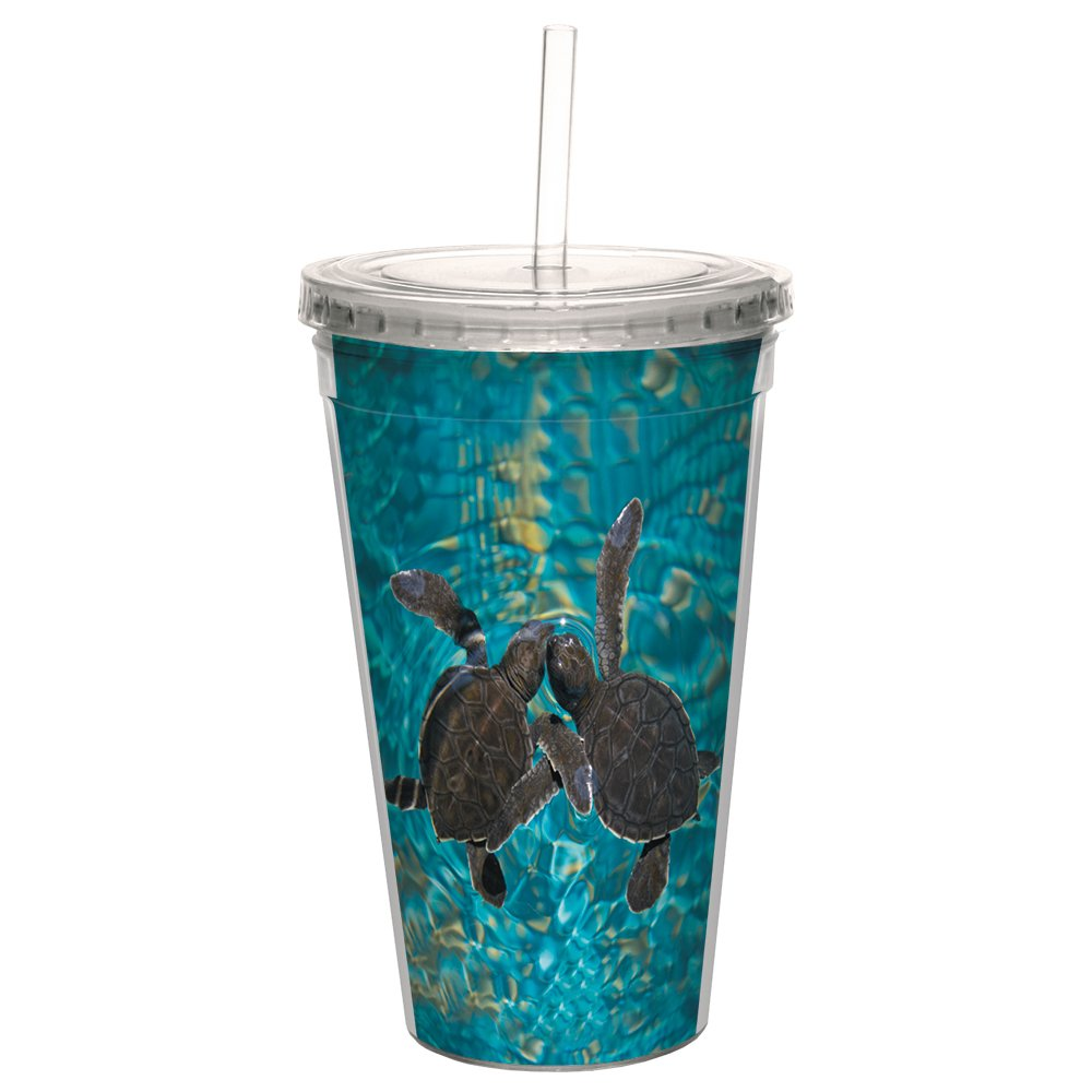 Tree-Free Greetings CC98932 Cool Cups, Double-Walled Pba Free with Straw and Lid Travel Insulated Tumbler, 16 Ounces, Baby Sea Turtles