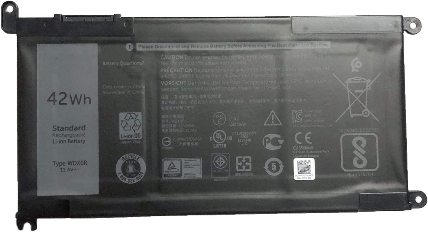 SUNNEAR WDX0R WDXOR Laptop Battery for dell Inspiron 15 5565 5567 5568 5578 7560 7570 7579 7569 13 5368 5378 7368 7378 17 5765 5767 5770 Series Notebook 3CRH3 T2JX4 FC92N CYMGM 11.4V 42Wh 3500mAh