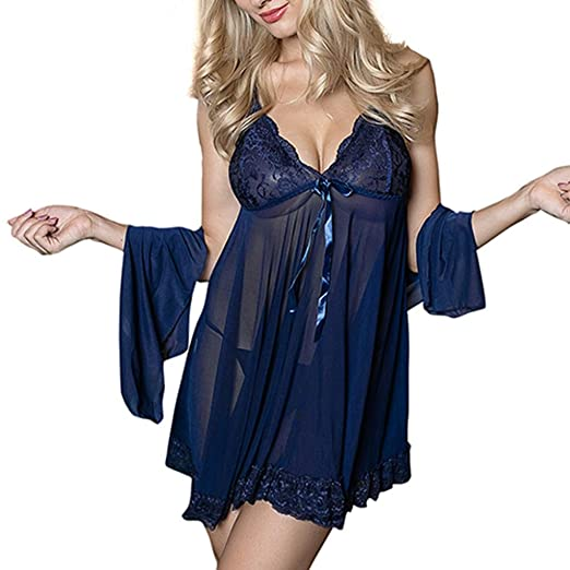 01a065d9c0a2 Yuxikong Sexy Women Lingerie 3Pc, Women Sexy Bow Uniforms Temptation Sexy  Nightdress Shawl (Blue