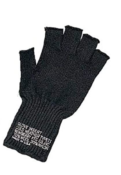 Amazon.com  Black G.I. Military Fingerless Wool Gloves Made in USA ... 49a607a6dfd