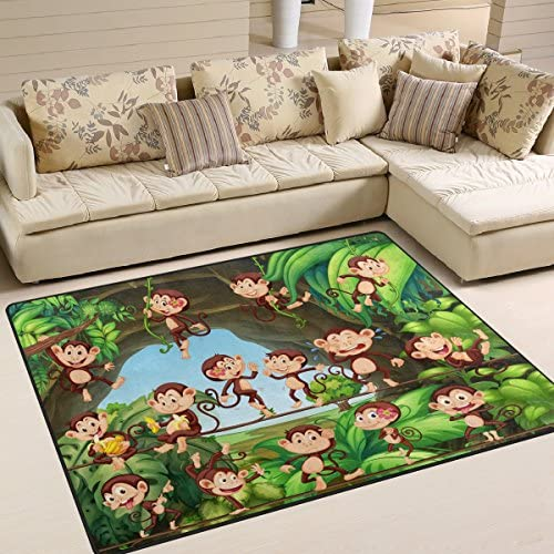 ALAZA Cartoon Forest Monkey Area Rug Rugs for Living Room Bedroom 7 x 5