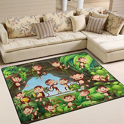 ALAZA Cartoon Forest Monkey Area Rug Rugs for Living Room Bedroom 5'3 x 4' - Monkey Rug