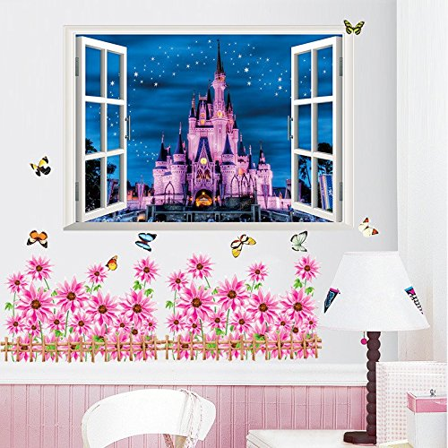 Disney Land Princess Castle 3d Window Wall Decal Kids Sticker Girls Home Decor