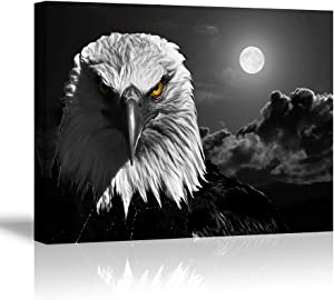 "Cool Eagle Wall Art Decor for Bedroom, PIY Fierce Bald Eagle Under Moon Night Picture, Awesome Black and White Canvas Prints Decor Artwork (1"" Thick, Waterproof, Bracket Fixed Ready to Hang)"