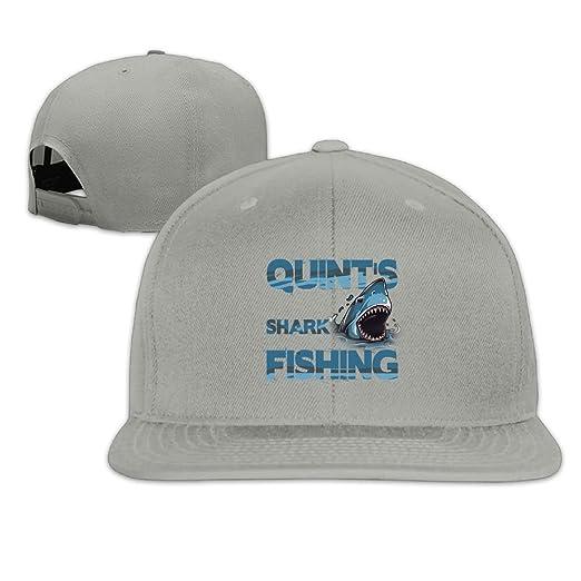Quint s Shark Fishing Washed Unisex Adjustable Flat Bill Visor Dad ... 1591b4a0fcd7