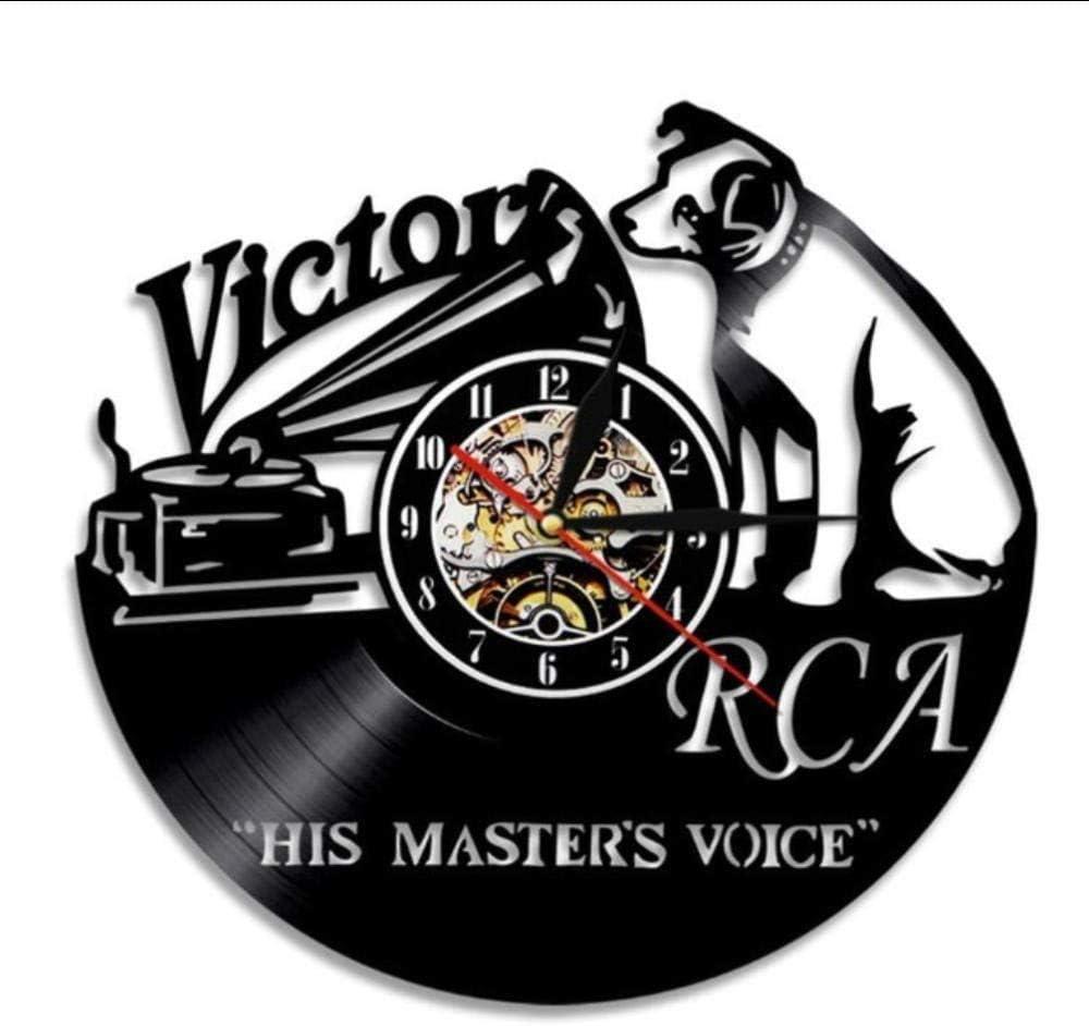 CUIRAN Victor RCA Vinyl Record Clock Cute Dog Handmade Gift Home Decor Vintage Hanging Wall Art Timepiece Clock