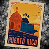 Deco Space Vintage Retro Kraft Paper Poster - Visit Beautiful Puerto Rico - Creative Unframed Indoor Art Wall Decoration 42 x 30 cm / 16.5 x 12 inches
