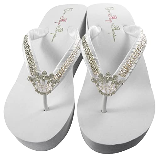ca168c28e792a Ultimate Bling Princess Crown Wedge Flip Flops, Bride Bridesmaid Wedding  Sandals
