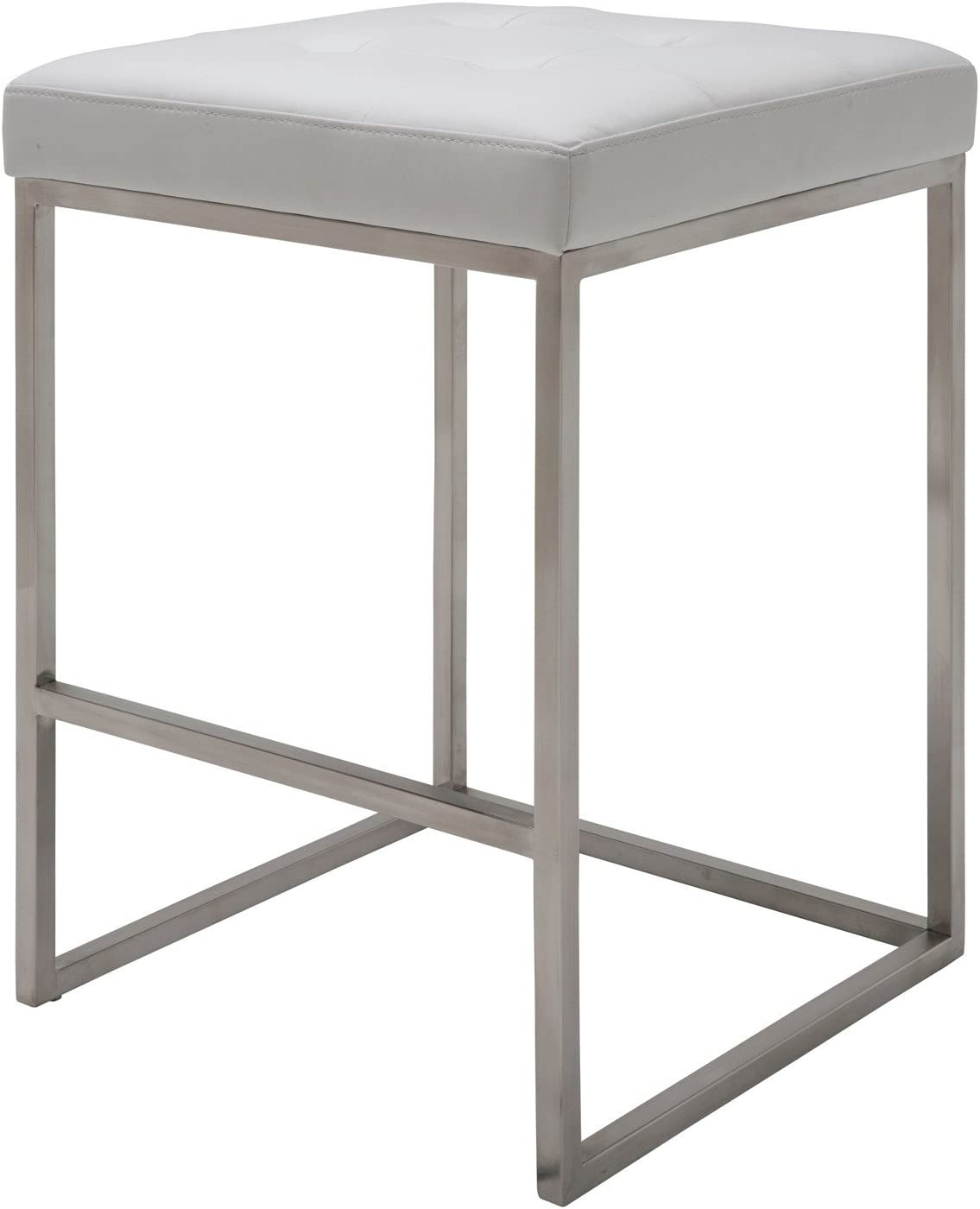 Chi Counter Stool 25 75 In Brushed Stainless Steel Frame White Kitchen Dining