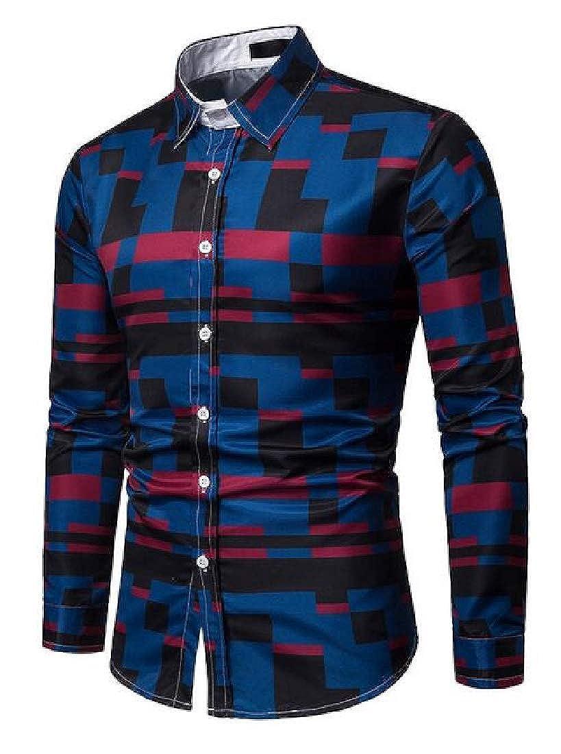 Fubotevic Mens Print Business Long Sleeve Button Down Button Down Dress Work Shirt
