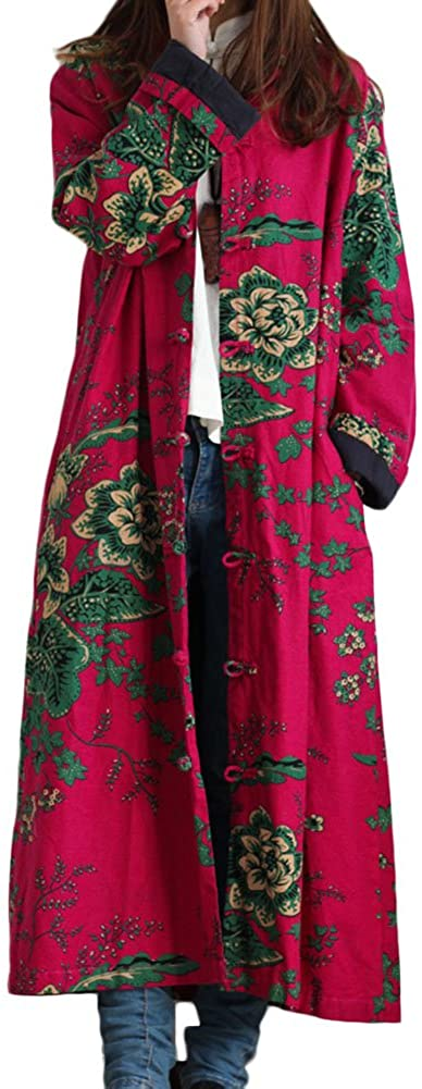 LZJN Women Trench Coat Floral Print Long Jacket with Pockets (Red): Clothing