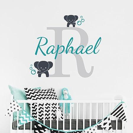 stickers muraux disney chateau Nom personnalisé éléphant papillon pour  filles garçons enfants chambre bébé (40cm Hauteur)