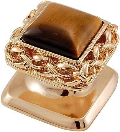 Vicenza Designs K1152 Tigers Eye Gioiello Square Stone Insert Style 6 Knob Small Satin Nickel