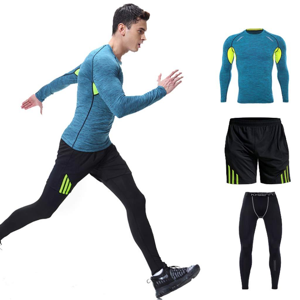 Lilongjiao Herren Sportswear Herbst und Winter Fitness-Bekleidung passen für Männer Turnhalle Sportbekleidung langärmelige eng anliegende Laufkleidung Yoga-Kleidung Strumpfhosen dreiteilig