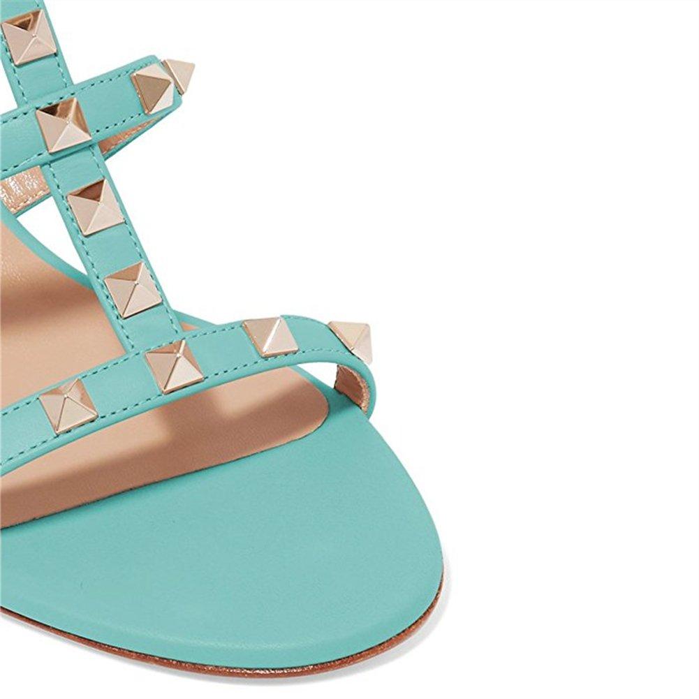 Chris-T Chunky Heels for Womens Studded Slipper Low Block Heel Sandals Open Toe Slide Studs Dress Pumps Sandals 5-14 US B07DH779MK 9 M US|Aquamarine 5cm