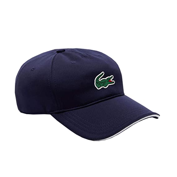 Lacoste Men s Sport Resistant Technical Piqué Golf Cap (Medium) Navy  Blue White 44447115cda