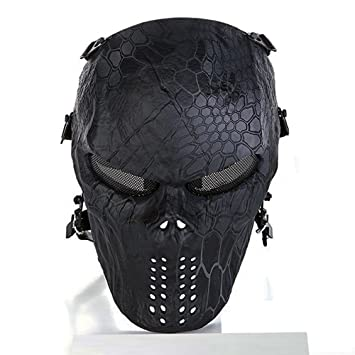 cqjdg exterior Full Face – Máscara Calavera Esqueleto Máscara para pistola de airsoft/Bb/