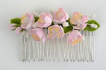 Peineta Para El Pelo De Porcelana Fría Artesanal Con Flores De Manzano