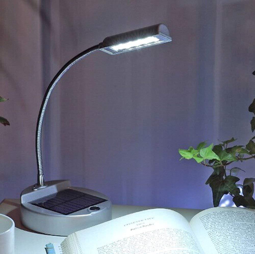 Wiederaufladbare Solar Schreibtischlampe mit 4LED USB Tragbare Flexible Schwanenhals Mini Solar Schreibtischlampe f/ür Leselicht im Innenbereich longdafei Solar USB Schreibtischlampe