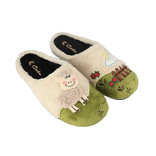 Costa H534-880, Zapatillas de Estar por casa con talón Abierto para Mujer, Marfil (Crudo 28), 38 EU: Amazon.es: Zapatos y complementos