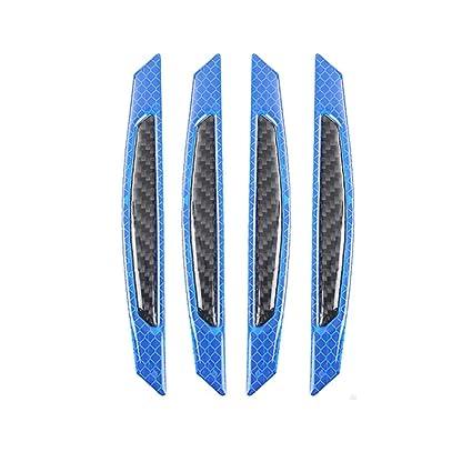 2 BLUE VEHICLE CAR VAN DOOR EDGE CLIP ON GUARDS SCRATCH PROTECTORS REFLECTORS