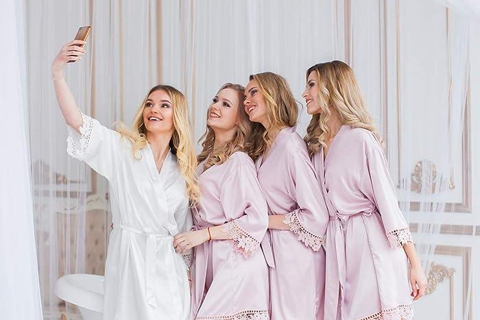 9b1aa24b661f Amazon.com: Bridesmaid Gifts, Satin Bridesmaid Robes, Wedding Robe, Bridal  Party Gifts, Bridesmaid Robe, Satin Robe, Bridal Party Robes, Kimono, Lace  Satin ...
