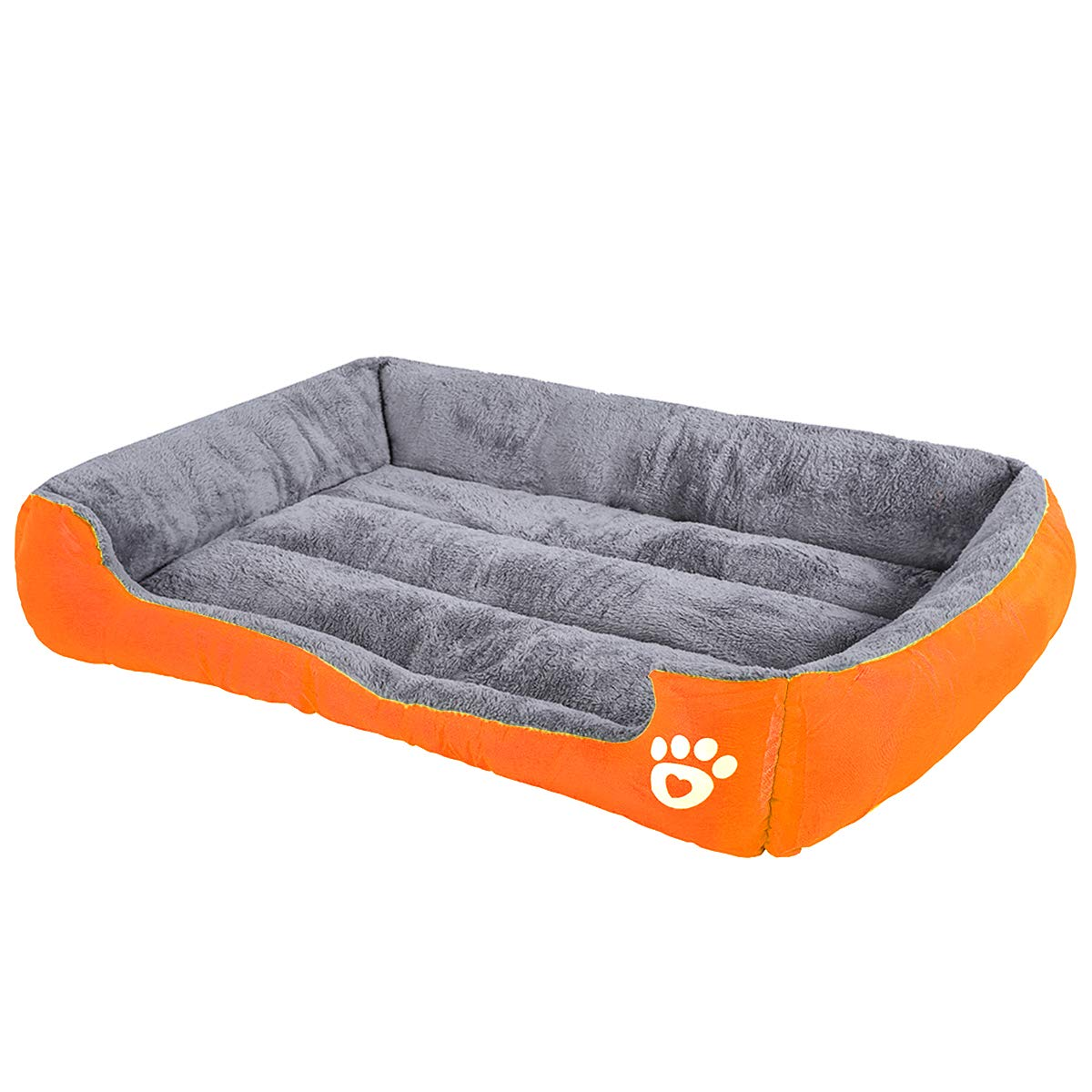 luciphia Rectangle Pet Dog Sofa Bed - Comfortable Two-Sided Cushion, Paw and Bone Patterned Linen Fabric Cover, Square Bed for Dog and Cat, Water-Resistant Bottom PAW-Orange,XL(35.4x29.5In)