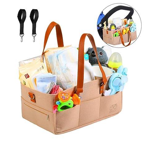 Pañales Organizador, Felly Gran Capacidad Cesta de Pañales Bolsa Organizador de Toallitas para Bebe con 2 ganchos para cochecito, Compartimentos ...