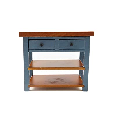 Melody Jane Dollhouse Blue & Walnut Island Work Table Modern Miniature Kitchen Furniture: Toys & Games