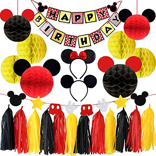 LUCK COLLECTION Mickey Mouse Party Supplies Mickey Mouse Ears Garland Birthday Banner Mickey Mouse Party Decorations ()