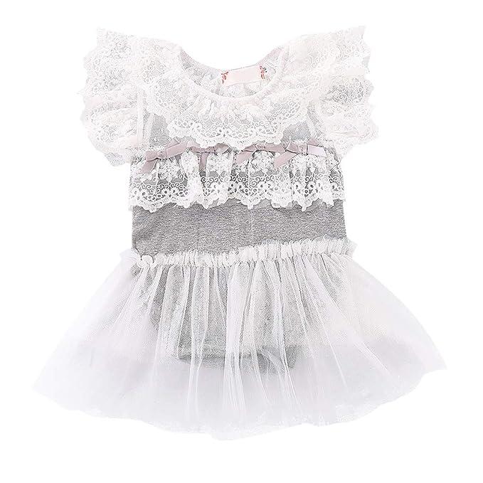 Hongyuangl Bebé Chicas Niña Vestido de Mameluco Fiesta Bautizo Vestido de Bola Encaje tutú Vestidos Formales Vestido de Tirantes: Amazon.es: Ropa y ...